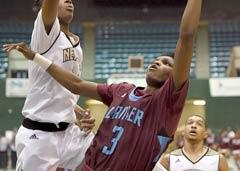 Earl Smith competing with opponent for rebound