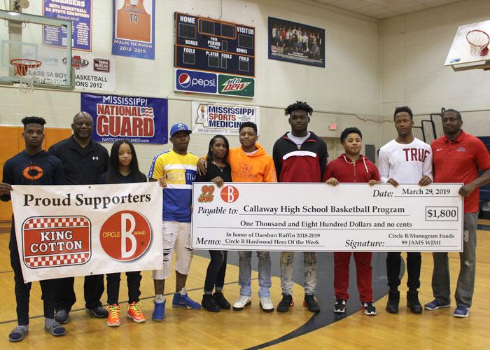 Representatives from Callaway basketball team, JPS athletics, WJMI and Circle B Foods