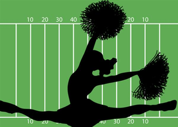 Cheerleader on yard line background
