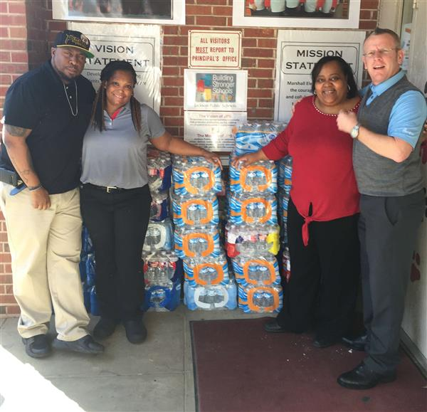Chick-fil-A Donates Cases of Bottled Water to Marshall Elementary