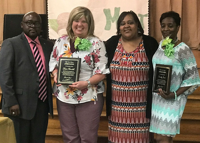 Marshall Elementary honors our retirees, Dawn Barnhill and Dorothy Jones.