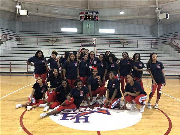 Squad members of the 2018 through 2019 Forest Hill High school cheerleaders