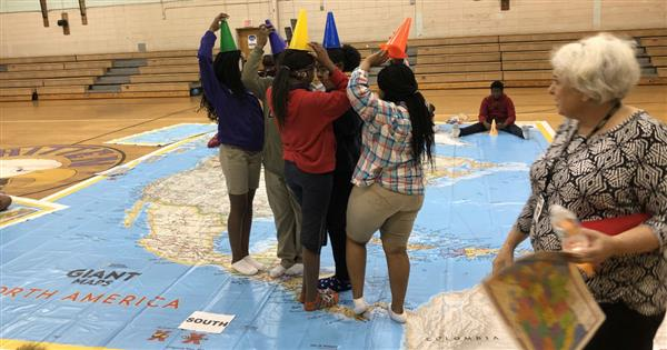 Whitten students use giant map