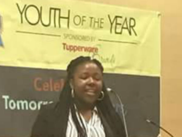 Anna Rhodes speaks at Youth of the Year event