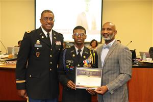 Superintendent and Board of Trustees Recognize Cadet Banks at Board Meeting