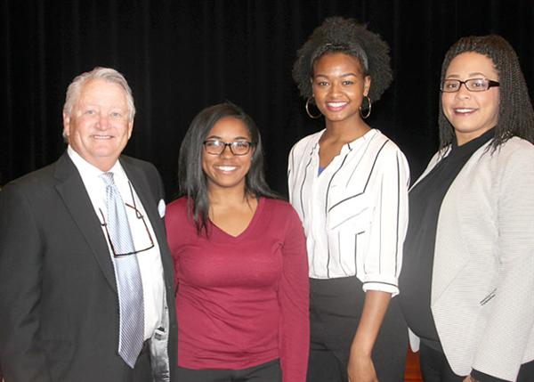 Participating in the scholarship presentation were (from left) Jana Williams, graduation coach; Wil