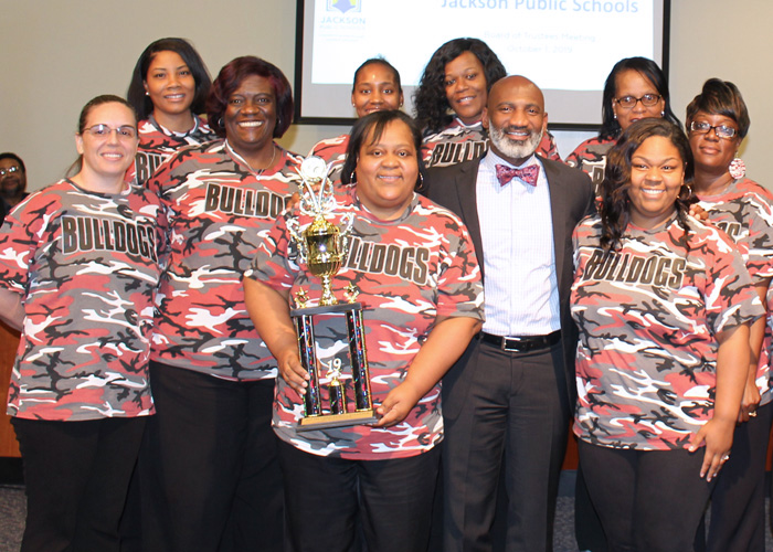 Marshall educators, principal Helen Young, superintendent Dr. Errick L. Greene