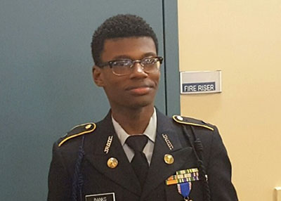 Cadet Reuben Banks in formal uniform