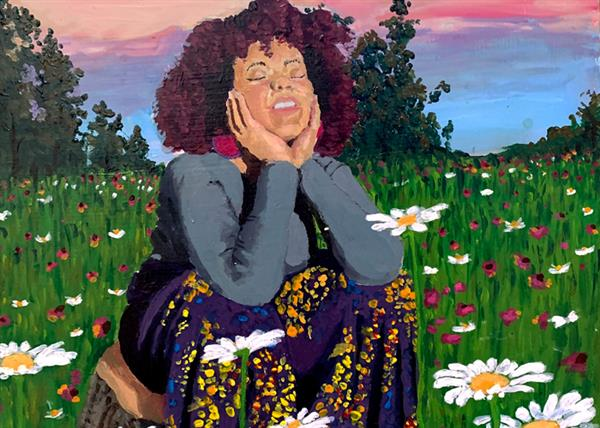 self portrait of teen girl sitting in pasture with daisies and other flowers