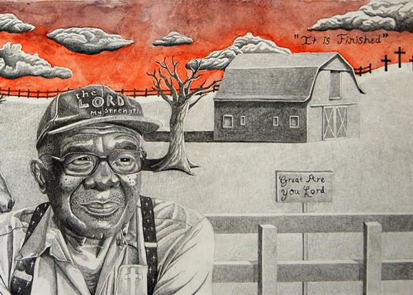 drawing of old farmer in foreground, barn in background, psalms: the Lord is my Strength on man's hat, Great Are You Lord on sign post; It is Finished in sky