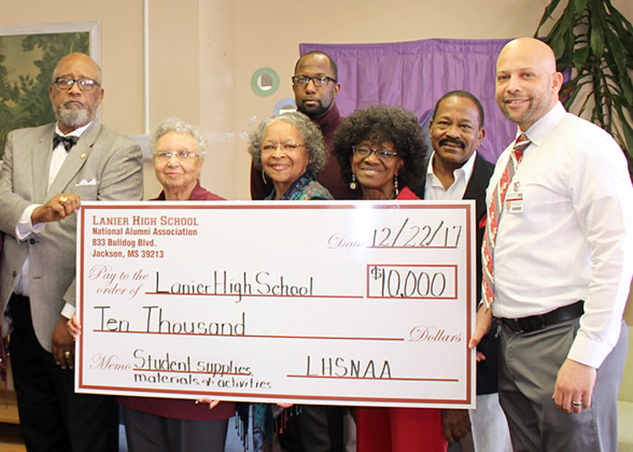 Members presenting check to Lanier High School for $10K on 12/22/2017