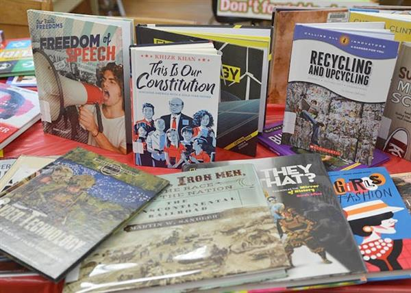 Book display - Freedom of Speech, This Is Our Constitution, Recycling and Upcycling