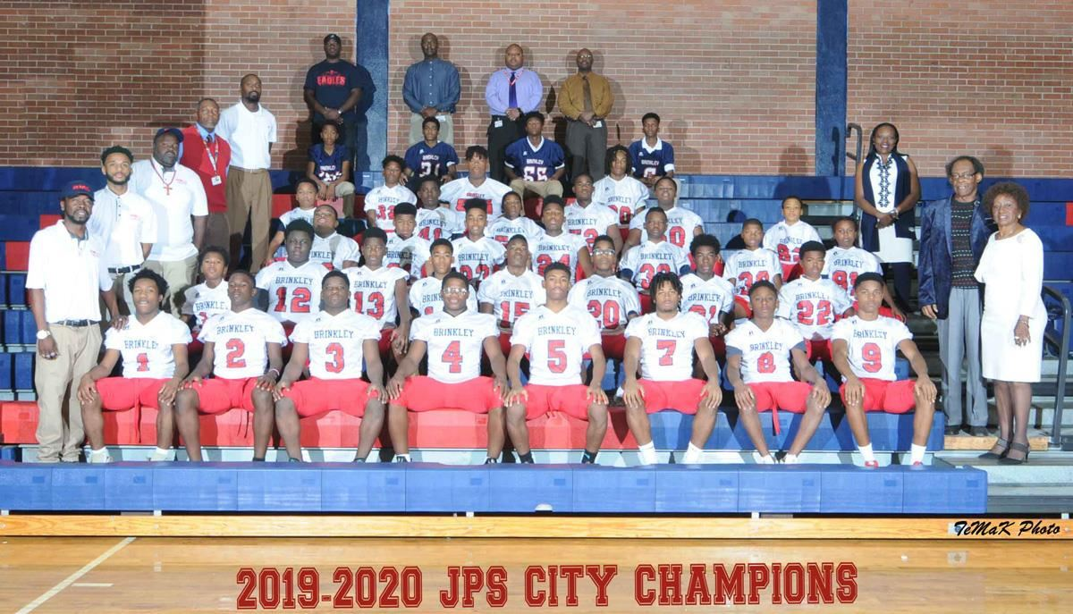 Brinkley football team, coaches, sponsor, school administrators