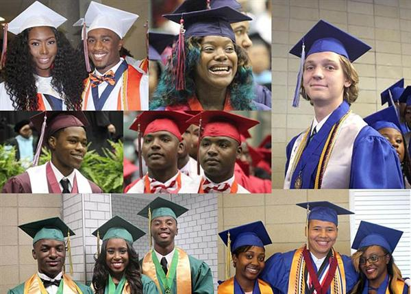 Collage of JPS graduates in cap and gown representing each of seven high schools