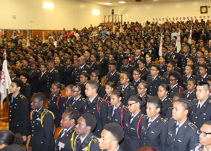JROTC cadets assembled in the auditorium