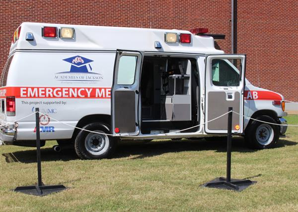 Ambulance with doors open
