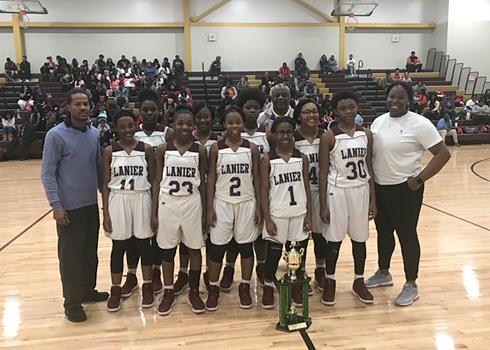 Lanier JV girls basketball team and supporters