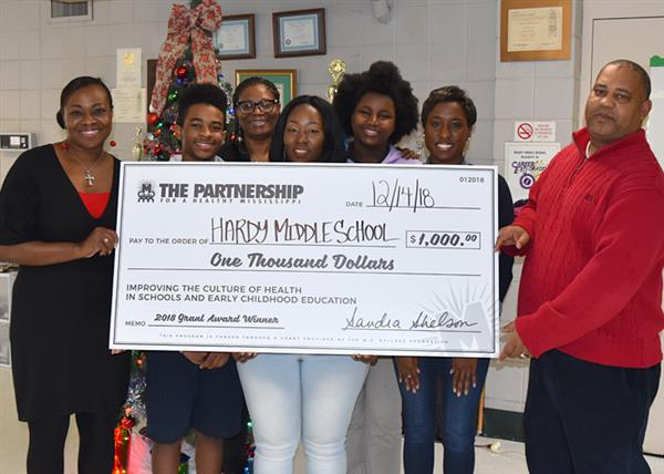 Hardy Middle School check presentation