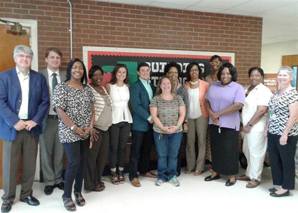Lake Elementary staff and Merrill Lynch representatives