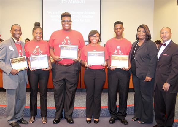 Provine STEM team with Provine Principal Laketia Marshall Thomas and Dr. Cedrick Gray