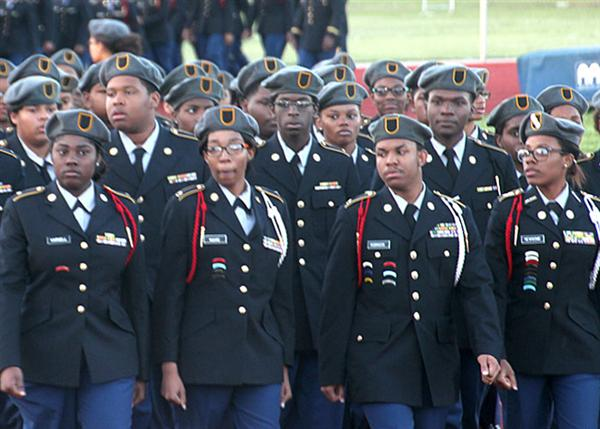 JROTC units marching in parade formation