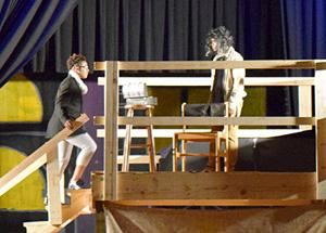 Students performing a scene from Sweeney Todd