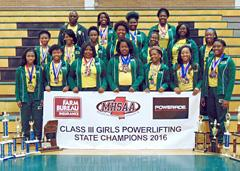 Jim Hill girls powerlifting team and coaches wearing medals standing with championship banner