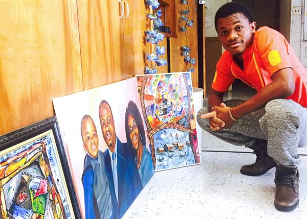 Osi Anakor and several of his art pieces