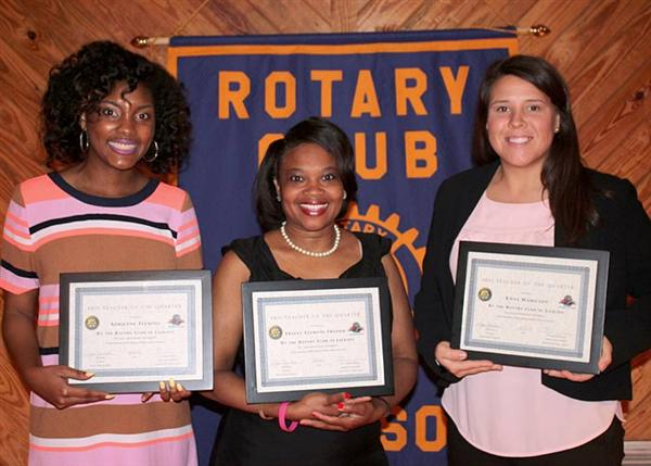 Teachers of the Quarter honorees with certificates